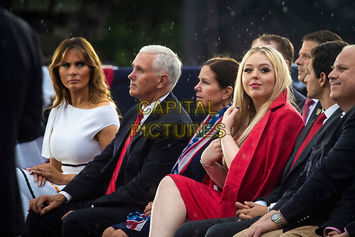 "U.S. First Lady Melania Trump looks at Tiffany Trump as U.S. Vice President Mike Pence and Second Lady Karen Pence listen as U.S. President Donald Trump, not pictured, speaks during the Fourth of July Celebration 'Salute to America' event in Washington, D.C., U.S., on Thursday, July 4, 2019. The White House said Trump's message won't be political -- Trump is calling the speech a ""Salute to America"" -- but it comes as the 2020 campaign is heating up. <br /> h<br /> CAP/MPI/CNP<br /> ©CNP/MPI/Capital Pictures"