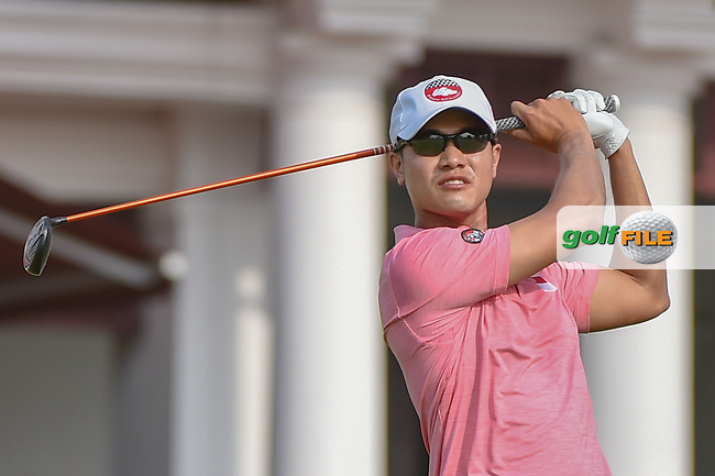 Gregory FOO (SIN) watches his tee shot on 12 during Rd 2 of the Asia-Pacific Amateur Championship, Sentosa Golf Club, Singapore. 10/5/2018.<br /> Picture: Golffile | Ken Murray<br /> <br /> <br /> All photo usage must carry mandatory copyright credit (© Golffile | Ken Murray)