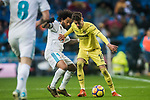 Samuel Castillejo Azuaga, Samu Castillejo (R), of Villarreal CF fights for the ball with Marcelo Vieira Da Silva of Real Madrid during the La Liga 2017-18 match between Real Madrid and Villarreal CF at Santiago Bernabeu Stadium on January 13 2018 in Madrid, Spain. Photo by Diego Gonzalez / Power Sport Images