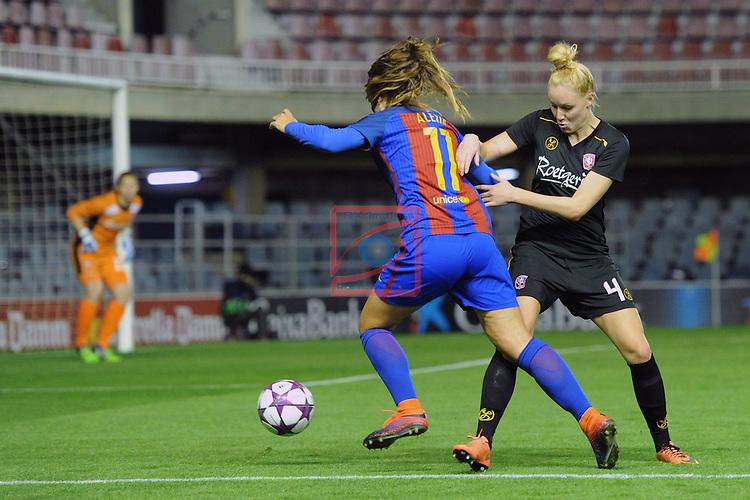 UEFA Women's Champions League 2016/2017.<br /> Round of 16 - First Leg<br /> FC Barcelona vs Twente: 1-0.<br /> Alexia Putellas vs Kerkdijk.