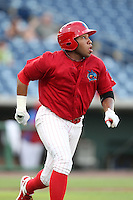 Clearwater Threshers Jonathan Singleton #3 watches his home run at bat during a game against the Daytona Cubs at Brighthouse Stadium on June 23, 2011 in Clearwater, Florida.  Clearwater defeated Daytona 6-5.  (Mike Janes/Four Seam Images)
