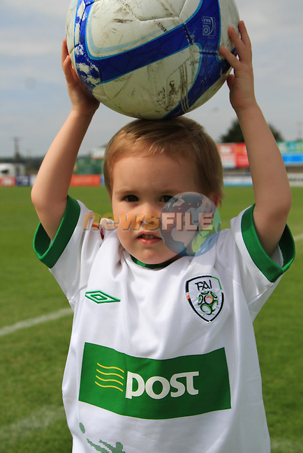 Gavin Whelans son Jayden Whelan watches on at the Italia 90 Legends Charity Game at United Park, Drogheda...(Photo credit should read Jenny Matthews www.newsfile.ie)....This Picture has been sent you under the conditions enclosed by:.Newsfile Ltd..The Studio,.Millmount Abbey,.Drogheda,.Co Meath..Ireland..Tel: +353(0)41-9871240.Fax: +353(0)41-9871260.GSM: +353(0)86-2500958.email: pictures@newsfile.ie.www.newsfile.ie.