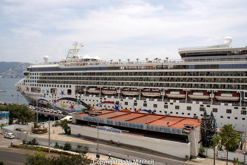 Cruise ship docked at the cruise ship terminal in Acapulco, Mexico
