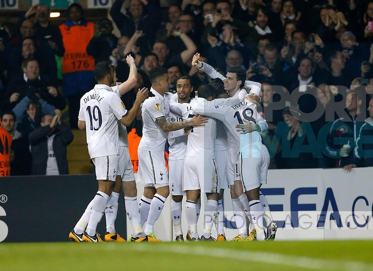 Tottenham's Gareth Bale celebrates scoring his sides opening goal..Tottenham Hotspur v Inter Milan- Europa League - Last 16- White Hart Lane, London- 7/03/13 - Picture David Klein/Sportimage