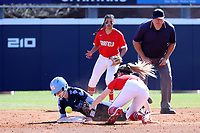 GREENSBORO, NC - FEBRUARY 22: Bri Stubbs #27 of the University of North Carolina steals second base as the ball gets away from Madison Robicheau #12 of Fairfield University during a game between Fairfield and North Carolina at UNCG Softball Stadium on February 22, 2020 in Greensboro, North Carolina.