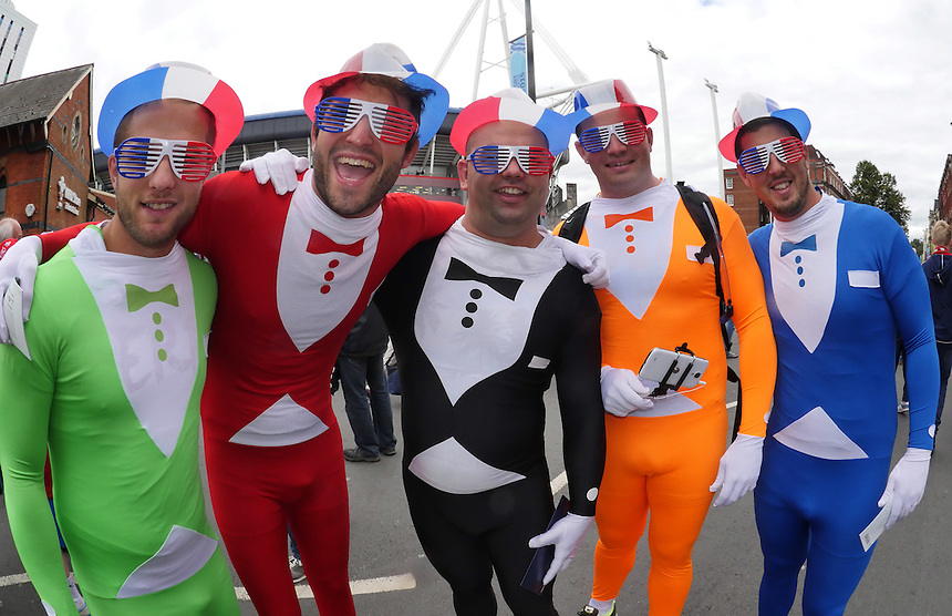 French fans enjoy the atmosphere in the streets of Cardiff prior to kick off <br /> <br /> Photographer Ian Cook/CameraSport<br /> <br /> Rugby Union - 2015 Rugby World Cup - Wales v Uruguay - Sunday 20th September 2015 - Millennium Stadium - Cardiff<br /> <br /> &copy; CameraSport - 43 Linden Ave. Countesthorpe. Leicester. England. LE8 5PG - Tel: +44 (0) 116 277 4147 - admin@camerasport.com - www.camerasport.com