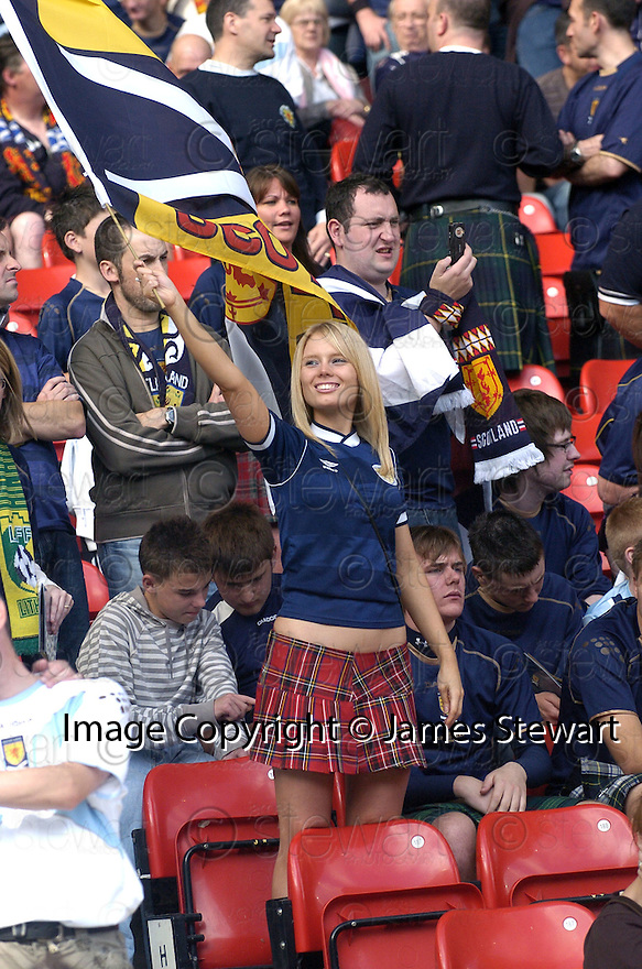 09/09/2007       Copyright Pic: James Stewart.File Name : sp_jspa19_weather_comp.ONE SCOTLAND FAN GETS IN THE MOOD BEFORE THE GAME.... DON'T KNOW WHAT THE YOUNG LADS BEHIND HER IS DOING THOUGH......James Stewart Photo Agency 19 Carronlea Drive, Falkirk. FK2 8DN      Vat Reg No. 607 6932 25.Office     : +44 (0)1324 570906     .Mobile   : +44 (0)7721 416997.Fax         : +44 (0)1324 570906.E-mail  :  jim@jspa.co.uk.If you require further information then contact Jim Stewart on any of the numbers above........