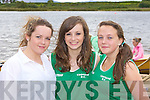 Siobhain Clifford, Grace O'reilly and Emma Joy enjoying the Callinafercy rowing club funday on Saturday in their boathouse .