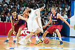 Real Madrid's player Rudy Fernandez and Barcelona's player Justin Doellman and Satoransky during Liga Endesa 2015/2016 Finals 3rd leg match at Barclaycard Center in Madrid. June 20, 2016. (ALTERPHOTOS/BorjaB.Hojas)