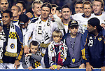20 November 2011: Los Angeles' David Beckham (ENG) with his three sons during the postgame celebration The Los Angeles Galaxy defeated the Houston Dynamo 1-0 at the Home Depot Center in Carson, CA in MLS Cup 2011, Major League Soccer's championship game.
