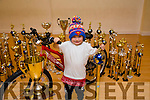 Five year old Rhian Duffy who was the winner of the All ireland Championships in Trabolgan and then won the overall hiphop Championship. Rhian is a pupil of Cassie Leen's School Of Dance in Tralee. Pictured with his Trophies and a bike bigger then him he won as part of the prize