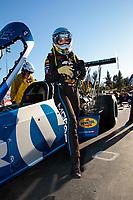 Nov 17, 2019; Pomona, CA, USA; NHRA top fuel driver Leah Pritchett during the Auto Club Finals at Auto Club Raceway at Pomona. Mandatory Credit: Mark J. Rebilas-USA TODAY Sports
