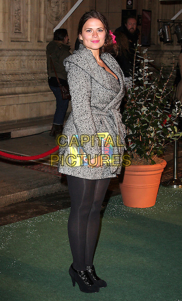 HAYLEY ATWELL .Attending the Gala VIP Opening Night of Cirque du Soleil's 'Varekai' at the Royal Albert Hall, London, England, UK, .January 5th 2010..arrivals full length grey gray wool shawl collar coat wrap belt belted black ankle boots tights  herringbone .CAP/ROS.©Steve Ross/Capital Pictures.