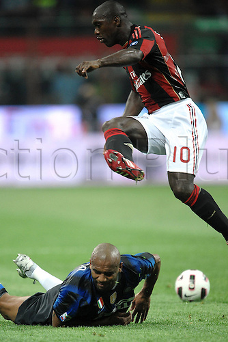 02 04 2011  Douglas Maicon Inter Clarence Seedorf Milan  Stadio Giuseppe Meazza San Siro  Series A AC Milan versus Inter Milan.