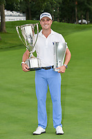 Justin Thomas (USA) holds the trophies for winning the 2019 BMW Championship, Medinah Golf Club, Chicago, Illinois, USA. 8/18/2019.<br /> Picture Ken Murray / Golffile.ie<br /> <br /> All photo usage must carry mandatory copyright credit (© Golffile | Ken Murray)