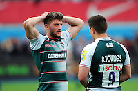 Owen Williams of Leicester Tigers looks dejected after the match. Aviva Premiership semi final, between Saracens and Leicester Tigers on May 21, 2016 at Allianz Park in London, England. Photo by: Patrick Khachfe / JMP