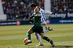CD Leganes's Jose Luis Garcia del Pozo 'Recio' and Real Betis Balompie's Francisco Guerrero during La Liga match between CD Leganes and Real Betis Balompie at Butarque Stadium in Madrid, Spain. February 10, 2019. (ALTERPHOTOS/A. Perez Meca)