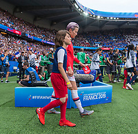 PARIS,  - JUNE 28: Megan Rapinoe #15 enters the field during a game between France and USWNT at Parc des Princes on June 28, 2019 in Paris, France.