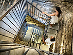 Stairway inside the tower, Vinci, Tuscano, Italy