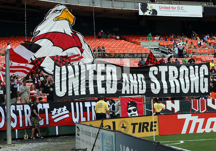 WASHINGTON, D.C. - AUGUST 19, 2012:  Sign of District Ultras, fans of DC United before an MLS match against the Philadelphia Union at RFK Stadium, in Washington DC, on August 19. The game ended in a 1-1 tie.
