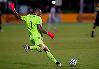 16th July 2020, Orlando, Florida, USA;  Columbus Crew goalkeeper Eloy Room (1) takes a goal kick during the MLS Is Back Tournament between the Columbus Crew SC versus New York Red Bulls on July 16, 2020 at the ESPN Wide World of Sports, Orlando FL.