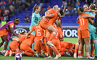 20190703 - LYON , FRANCE : Dutch players pictured celebrating after winning during the female soccer game between Netherlands – Oranje Leeuwinnen - and Sweden  , a knock out game in the semi finals of the FIFA Women's  World Championship in France 2019, Wednesday 3 th July 2019 at the Stade de Lyon  Stadium in Lyon  , France .  PHOTO SPORTPIX.BE | DAVID CATRY