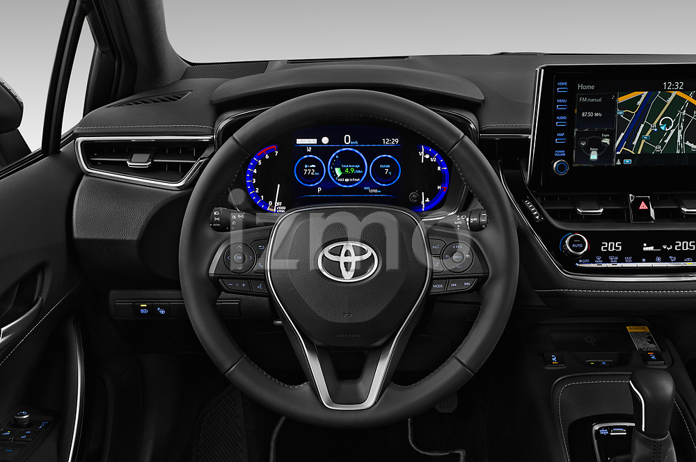 Car pictures of steering wheel view of a 2019 Toyota Corolla-Hybrid Premium 5 Door Hatchback Steering Wheel