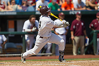 Mississippi State outfielder Hunter Renfroe (34) watches his three run home run in the fifth inning of Game 11 at the 2013 Men's College World Series against the Oregon State Beavers on June 21, 2013 at TD Ameritrade Park in Omaha, Nebraska. The Bulldogs defeated the Beavers 4-1, to reach the CWS Final and eliminating Oregon State from the tournament. (Andrew Woolley/Four Seam Images)
