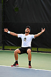WINSTON SALEM, NC - MAY 22: Bar Botzer of the Wake Forest Demon Deacons celebrates after defeating the Ohio State Buckeyes during the Division I Men's Tennis Championship held at the Wake Forest Tennis Center on the Wake Forest University campus on May 22, 2018 in Winston Salem, North Carolina. Wake Forest defeated Ohio State 4-2 for the national title. (Photo by Jamie Schwaberow/NCAA Photos via Getty Images)