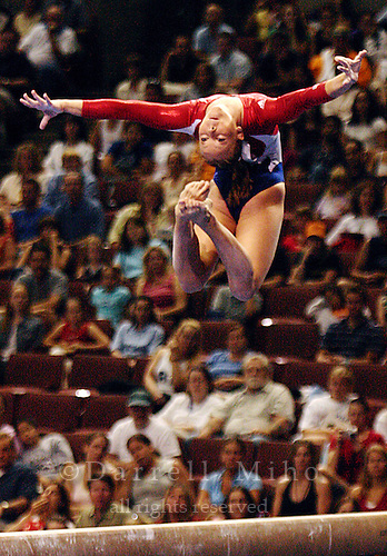 Jun 27, 2004; Anaheim, CA - Hollie Vise performs her routine on the beam at the Women's US Olympic Artistic Gymnastics Trials at the Arrowhead Pond...Photo: Darrell Miho