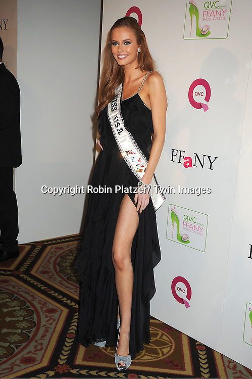 """Miss USA Alyssa Campanella  attends the  2011 QVC Presents """"FFANY Shoes on Sale"""" Gala on October 13, 2011 at The Waldorf=Astoria Hotel in New York City. The event benefits Breast Cancer Research."""