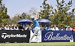 JEJU, SOUTH KOREA - APRIL 25:  Oliver Fisher of England tees off on the 7th hole during the Round Three of the Ballantine's Championship at Pinx Golf Club on April 25, 2010 in Jeju, South Korea. Photo by Victor Fraile / The Power of Sport Images