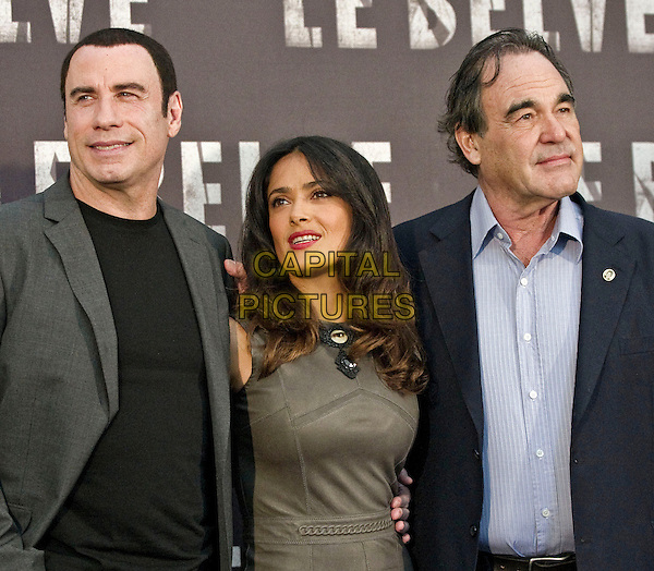 John Travolta, Salma Hayek & Oliver Stone.Photocall for the film 'Savages', Rome, Italy..September 25th, 2012 .half length grey gray suit jacket black top blue shirt.CAP/IPP/FC.©Fanny Coletta/IPP/Capital Pictures. .