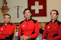 MELBOURNE, 27 SEPTEMBER - Swiss rider Fabian Cancellara flanked by his team mates at the Swiss team's press conference ahead of the 2010 UCI Road World Championships held at the Swiss Club in Melbourne, Australia (Photo Sydney Low / syd-low.com)