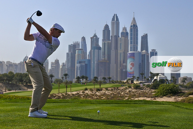 Bryson Dechambeau (USA) on the 8th tee during Round 3 of the Omega Dubai Desert Classic, Emirates Golf Club, Dubai,  United Arab Emirates. 26/01/2019<br /> Picture: Golffile | Thos Caffrey<br /> <br /> <br /> All photo usage must carry mandatory copyright credit (&copy; Golffile | Thos Caffrey)