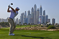 Bryson Dechambeau (USA) on the 8th tee during Round 3 of the Omega Dubai Desert Classic, Emirates Golf Club, Dubai,  United Arab Emirates. 26/01/2019<br /> Picture: Golffile | Thos Caffrey<br /> <br /> <br /> All photo usage must carry mandatory copyright credit (© Golffile | Thos Caffrey)