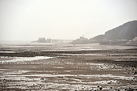 Swansea, Wales :- Friday 23rd January 2015 ... <br /> <br /> Generic view from Mumbles towards Mumbles lighthouse during a wet and windy spell in Mumbles, Swansea.