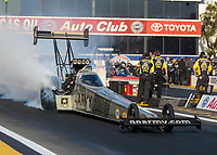 Nov 11, 2018; Pomona, CA, USA; NHRA top fuel driver Tony Schumacher during the Auto Club Finals at Auto Club Raceway. Mandatory Credit: Mark J. Rebilas-USA TODAY Sports