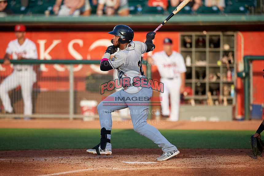 Burlington Bees Kevin Maitan (24) at bat during a Midwest League game against the Lansing Lugnuts on July 18, 2019 at Cooley Law School Stadium in Lansing, Michigan.  Lansing defeated Burlington 5-4.  (Mike Janes/Four Seam Images)