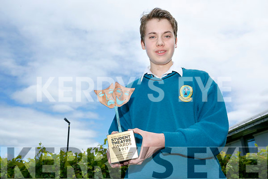 Student Cian McGrath from Mercy Mounthawk Secondary School, winner of the Best Dramatic Review at  the 2017 Bord Gáis Energy Student Theatre Awards