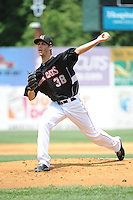 New Britain Rock Cats pitcher Taylor Rogers (38) during game against the Altoona Curve  at New Britain Stadium on June 25, 2014 in New Britain, Connecticut. New Britain defeated Altoona 3-1.  (Tomasso DeRosa/Four Seam Images)