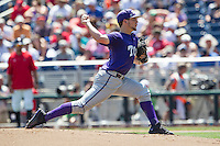 TCU Horned Frogs pitcher Jared Janczak (41) delivers a pitch to the plate against the Texas Tech Red Raiders in Game 3 of the NCAA College World Series on June 19, 2016 at TD Ameritrade Park in Omaha, Nebraska. TCU defeated Texas Tech 5-3. (Andrew Woolley/Four Seam Images)