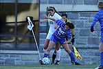 29 November 2013: Duke's Mollie Pathman (24) defends against Virginia Tech's Murielle Tiernan (20). The Virginia Tech University Hokies played the Duke University Blue Devils at Thompson Field in Blacksburg, Virginia in a 2013 NCAA Division I Women's Soccer Tournament Quarterfinal match. Virginia Tech won the game 3-0.