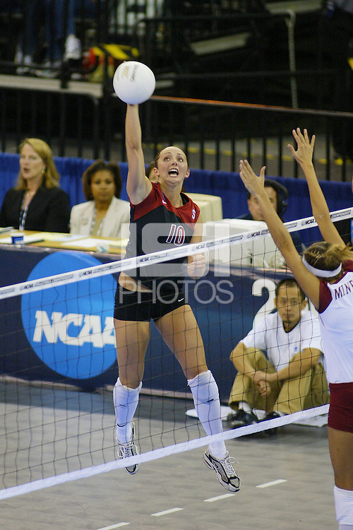 18 December 2004: Stanford Cardinal Kristin Richards during Stanford's  30-23, 30-27, 30-21 victory over Minnesota in the 2004 NCAA Women's Volleyball National Championships in Long Beach, CA. Stanford won their sixth women's volleyball title in school history.<br />