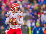 9 November 2014: Kansas City Chiefs quarterback Alex Smith looks to find a receiver in the first quarter against the Buffalo Bills at Ralph Wilson Stadium in Orchard Park, NY. The Chiefs rallied with two fourth quarter touchdowns to defeat the Bills 17-13. Mandatory Credit: Ed Wolfstein Photo *** RAW (NEF) Image File Available ***