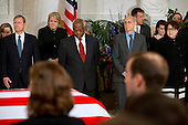 Chief Justice of the United States John G. Roberts, Jr., left, Ginny Thomas, next to her husband US Supreme Court Justice Clarence Thomas, US Supreme Court Justice Stephen G. Breyer, and US Supreme Court Justice Sonia Sotomayor, attend a private ceremony in the Great Hall of the US Supreme Court where late Supreme Court Justice Antonin Scalia lies in repose in Washington, DC on Friday, February 19, 2016. <br /> Credit: Jacquelyn Martin / Pool via CNP