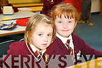 MAKING NEW FRIENDS: Ellie Flynn and Emily Rose Fitzgerald got on really well during their first day in the Holy Family National School on Monday.