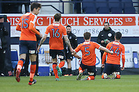 Alan Sheehan of Luton Town (right) celebrates after he scores the opening goal of the game during the Sky Bet League 2 match between Luton Town and Barnet at Kenilworth Road, Luton, England on 31 December 2016. Photo by David Horn.