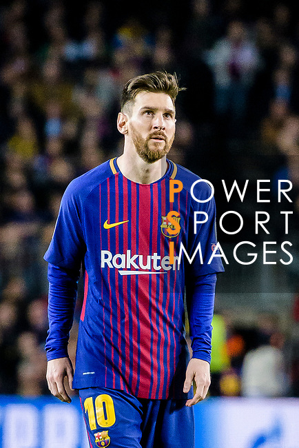 Lionel Andres Messi of FC Barcelona reacts during the UEFA Champions League 2017-18 quarter-finals (1st leg) match between FC Barcelona and AS Roma at Camp Nou on 05 April 2018 in Barcelona, Spain. Photo by Vicens Gimenez / Power Sport Images