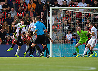 Bournemouth's Nathan Ake (centre left) attempts a bicycle kick in front of the Sheffield United goal<br /> <br /> <br /> Photographer David Horton/CameraSport<br /> <br /> The Premier League - Bournemouth v Sheffield United - Saturday 10th August 2019 - Vitality Stadium - Bournemouth<br /> <br /> World Copyright © 2019 CameraSport. All rights reserved. 43 Linden Ave. Countesthorpe. Leicester. England. LE8 5PG - Tel: +44 (0) 116 277 4147 - admin@camerasport.com - www.camerasport.com